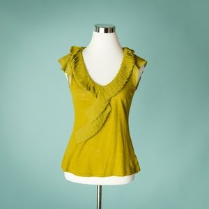 Anthropologie Deletta XS Green Ruffle Top